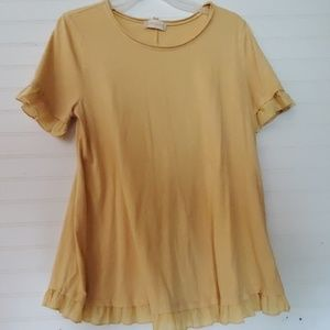 Altar'd State Size M Mustard Yellow Flowy Ruffle T